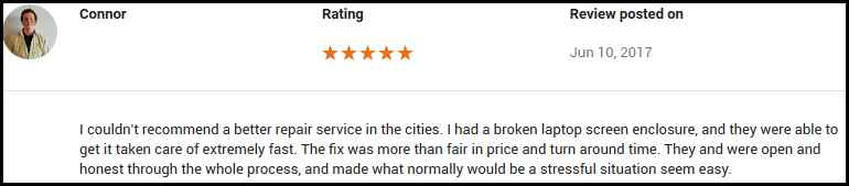 Connor Google review