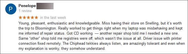 Penelope S Google Review